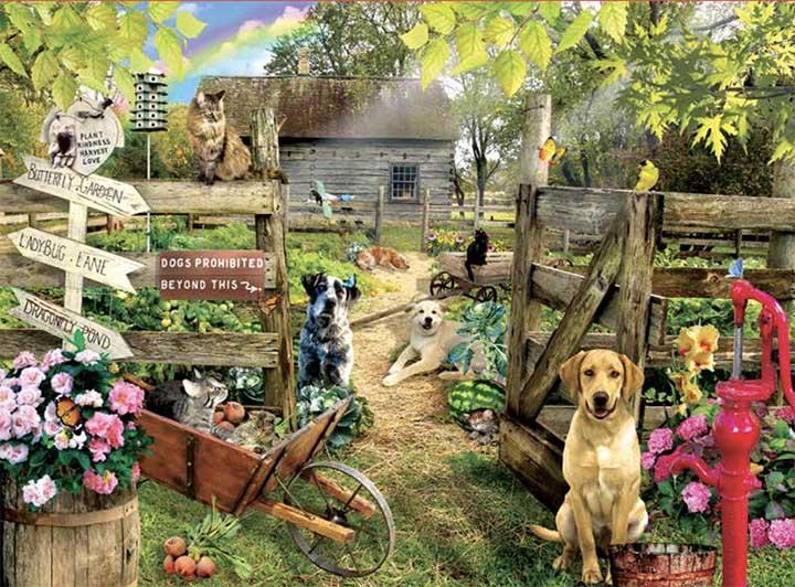 Summer Garden Dogs Jigsaw Puzzle