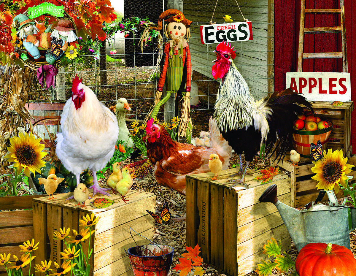 Chickens on the Farm Chickens & Roosters Jigsaw Puzzle
