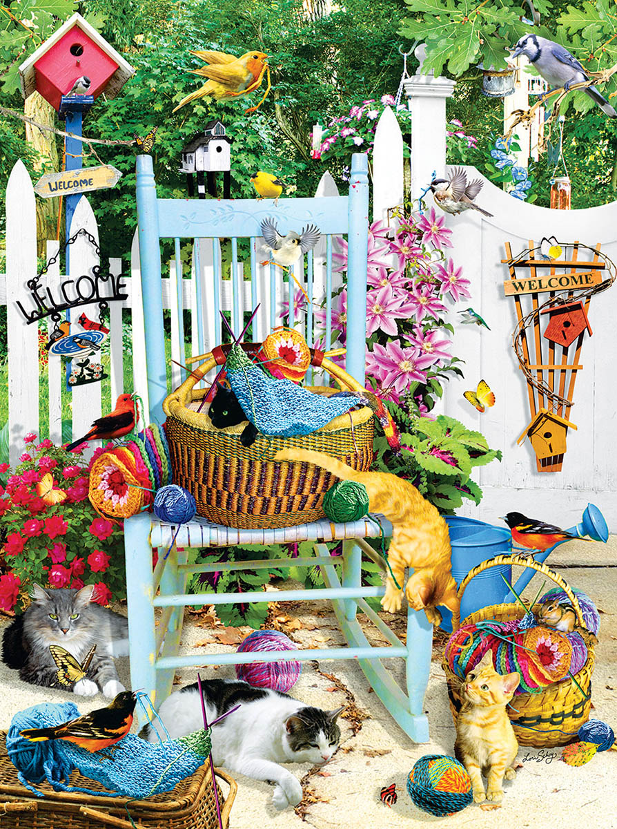 The Knitting Chair Cats Jigsaw Puzzle