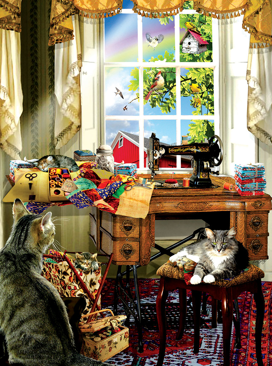 The Sewing Room Cats Jigsaw Puzzle