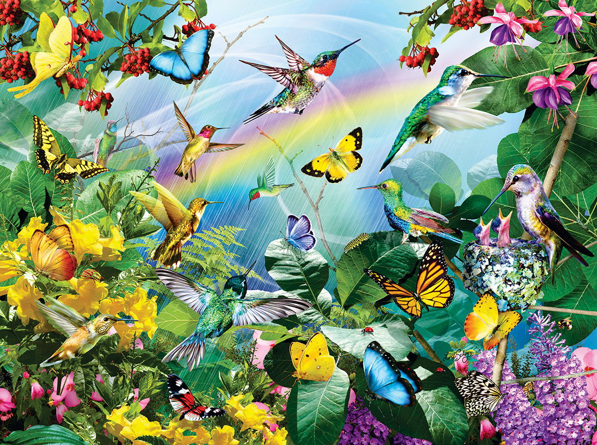 Hummingbird Sanctuary Birds Jigsaw Puzzle