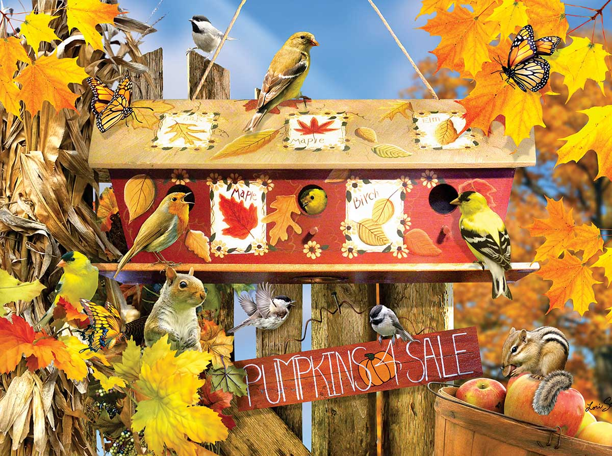 Fall Leaves Birds Jigsaw Puzzle