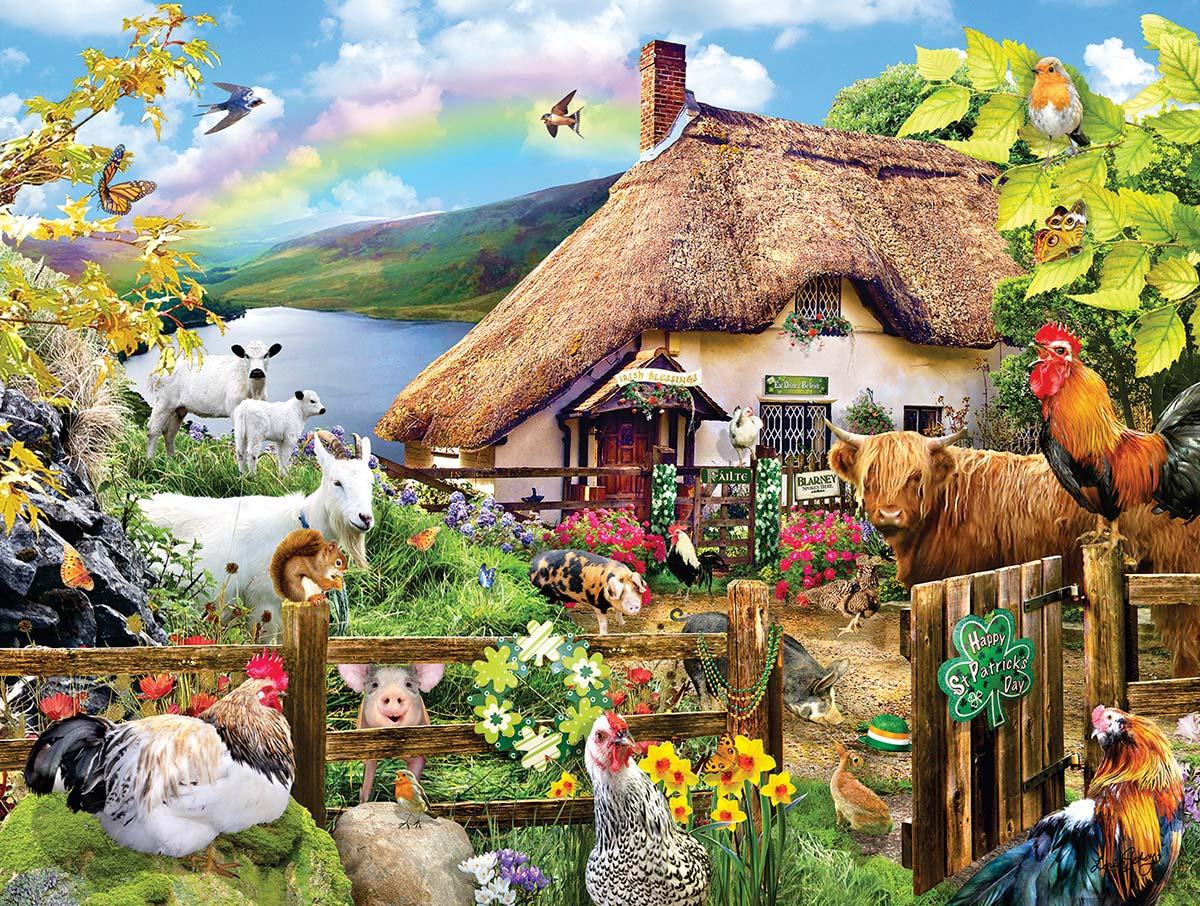 Luck of the Irish Farm Animals Jigsaw Puzzle