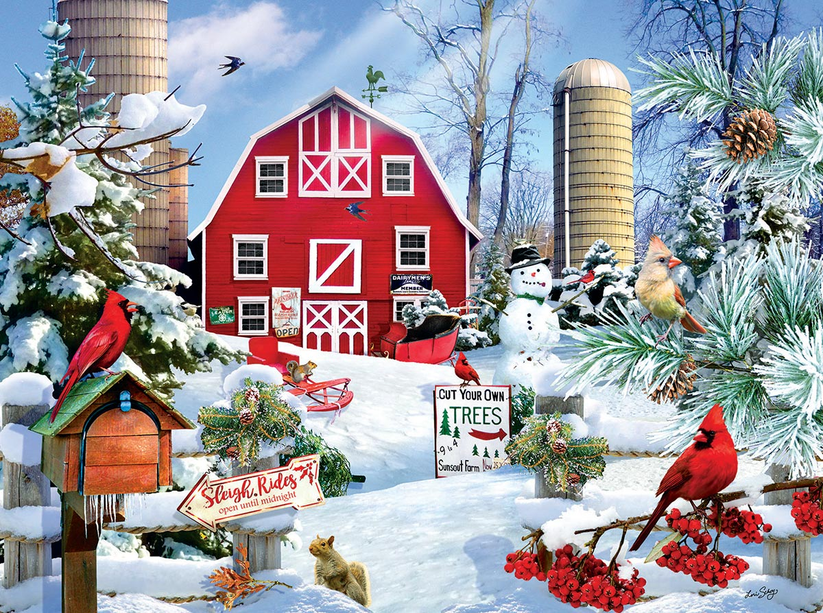 A Snowy Day on the Farm Birds Jigsaw Puzzle