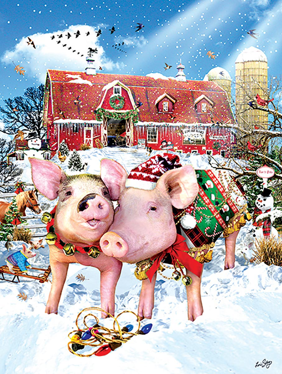 Christmas Sweater Farm Animals Jigsaw Puzzle