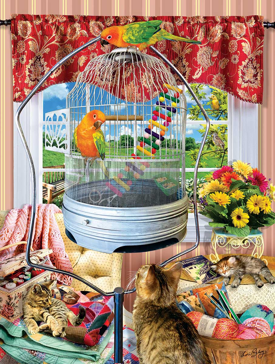 Bird Cage Cats Jigsaw Puzzle
