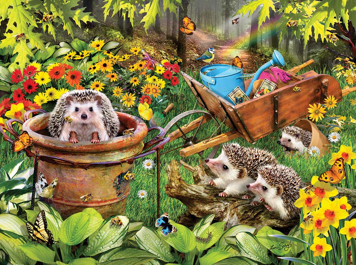 Hedgehogs and Bees Animals Jigsaw Puzzle