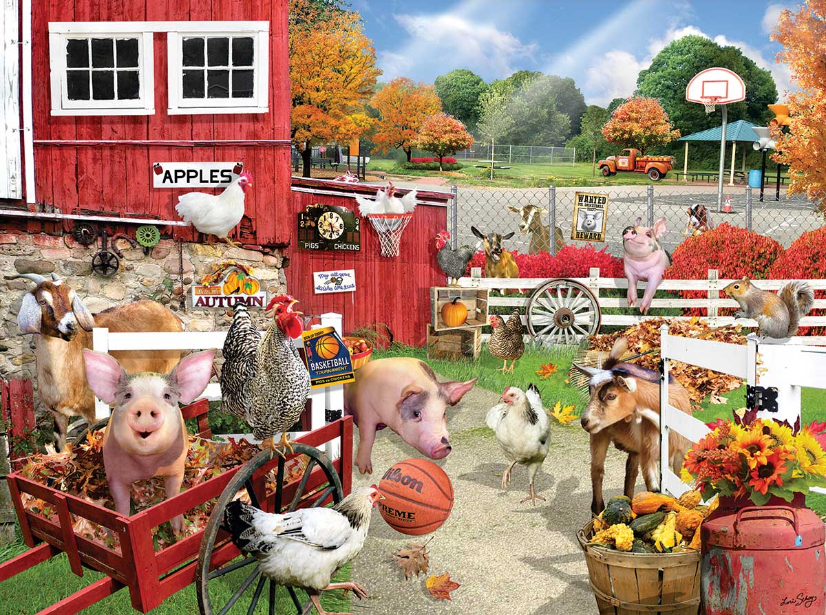 Barnyard Basketball Farm Jigsaw Puzzle