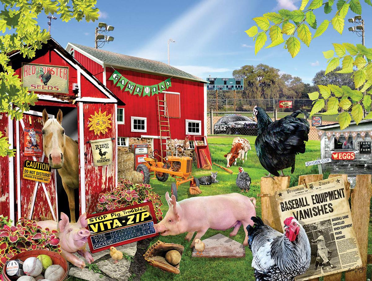 Barnyard Baseball Farm Jigsaw Puzzle