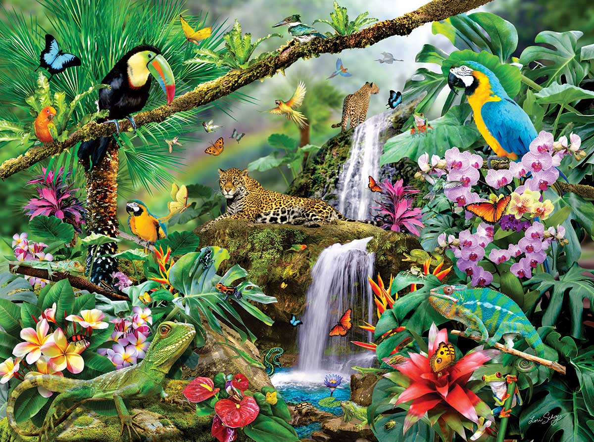 Tropical Holiday Jungle Animals Jigsaw Puzzle
