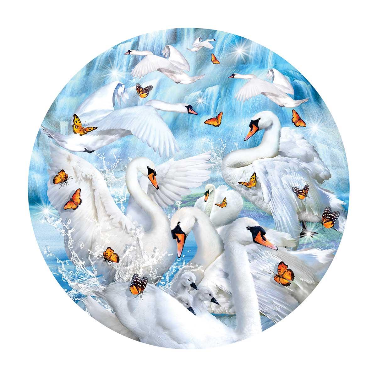 Swan Waterfall Birds Round Jigsaw Puzzle