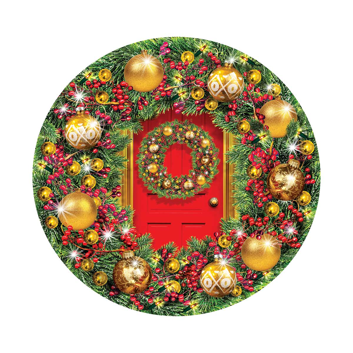 Green and Gold Wreath Christmas Jigsaw Puzzle