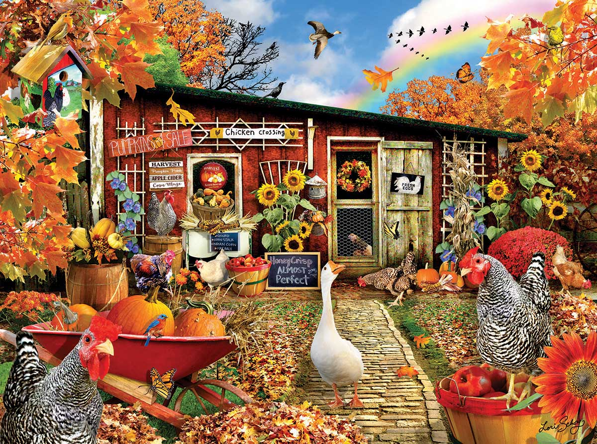 Chickens Crossing Farm Jigsaw Puzzle
