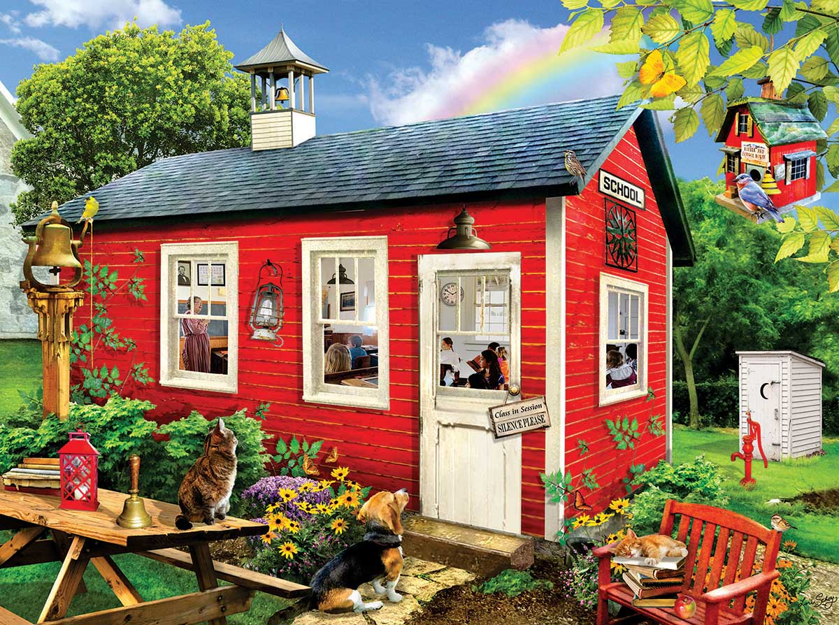 Little Red School House Spring Jigsaw Puzzle