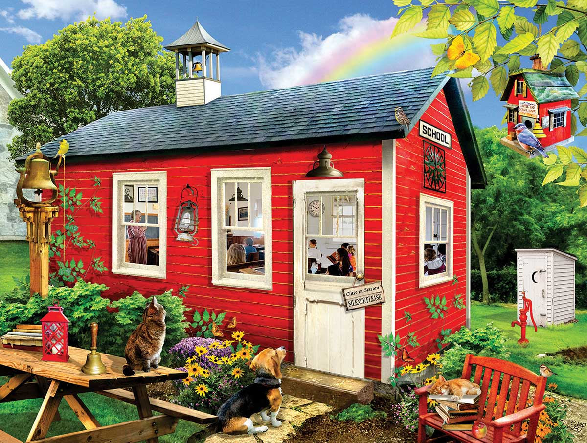 Little Red School House Cats Jigsaw Puzzle