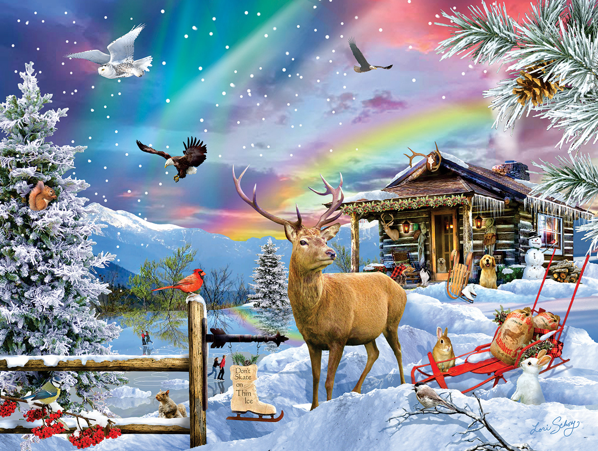 Winter In The Mountains Animals Jigsaw Puzzle
