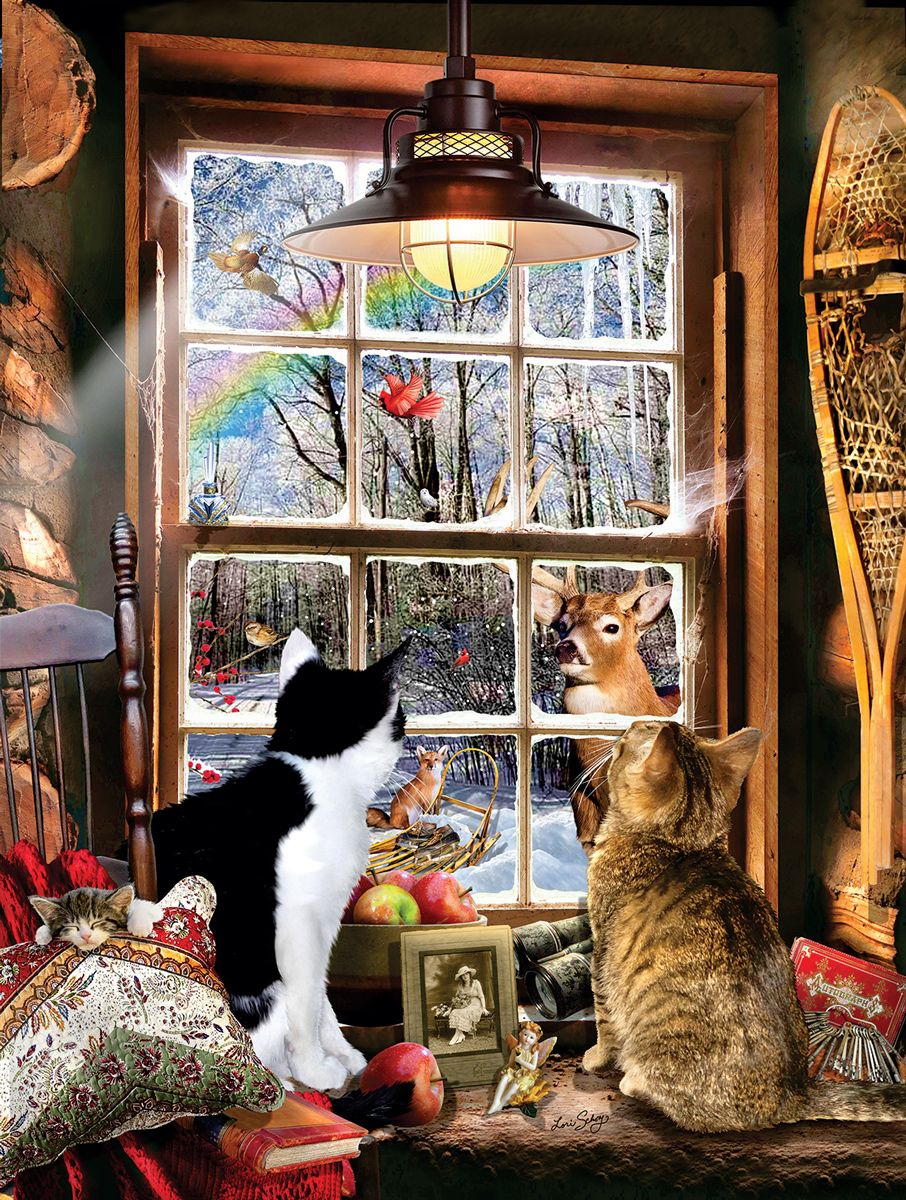 Winter Forest Cats Jigsaw Puzzle