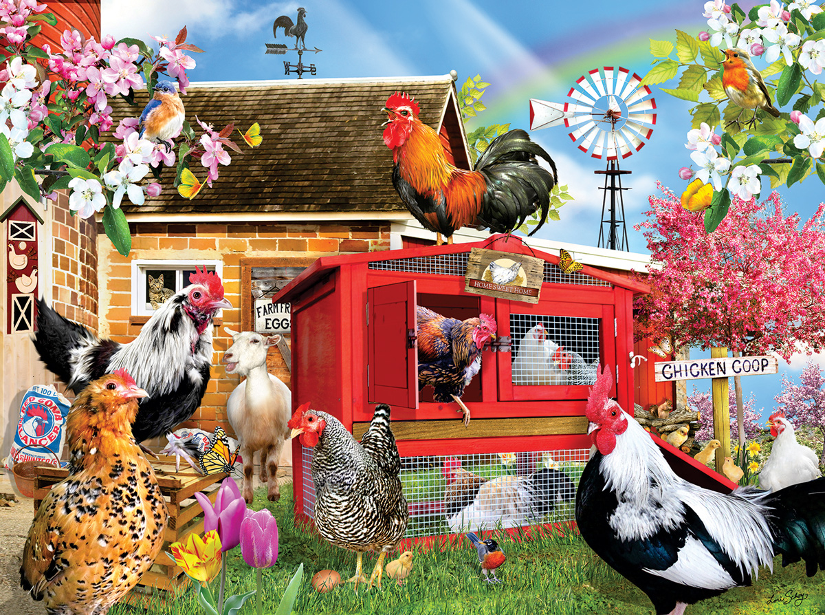 Chicken Coop Chickens & Roosters Jigsaw Puzzle