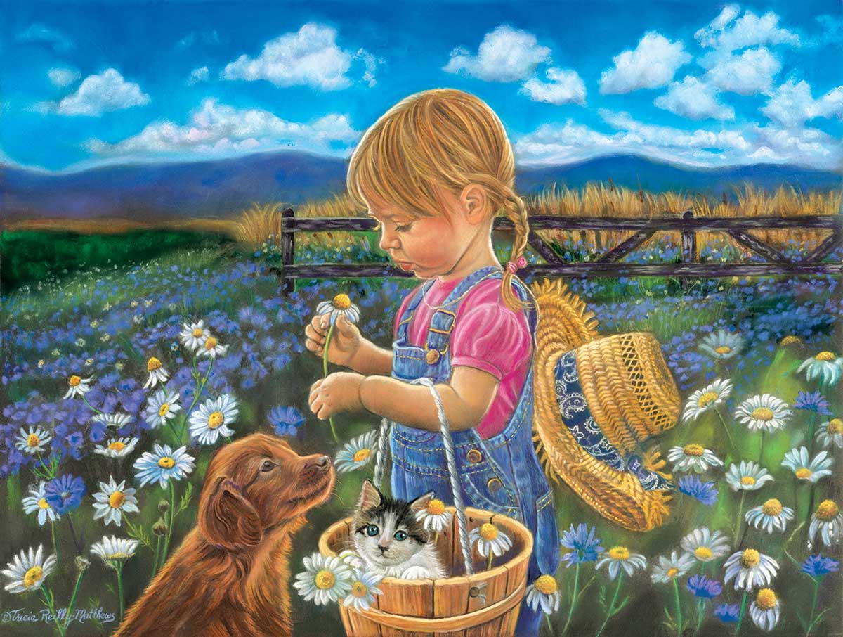 Country Girl Countryside Jigsaw Puzzle