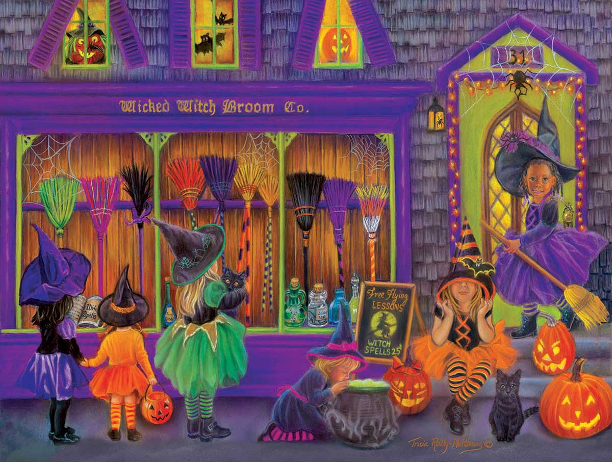 Witch Broom Shop Halloween Jigsaw Puzzle