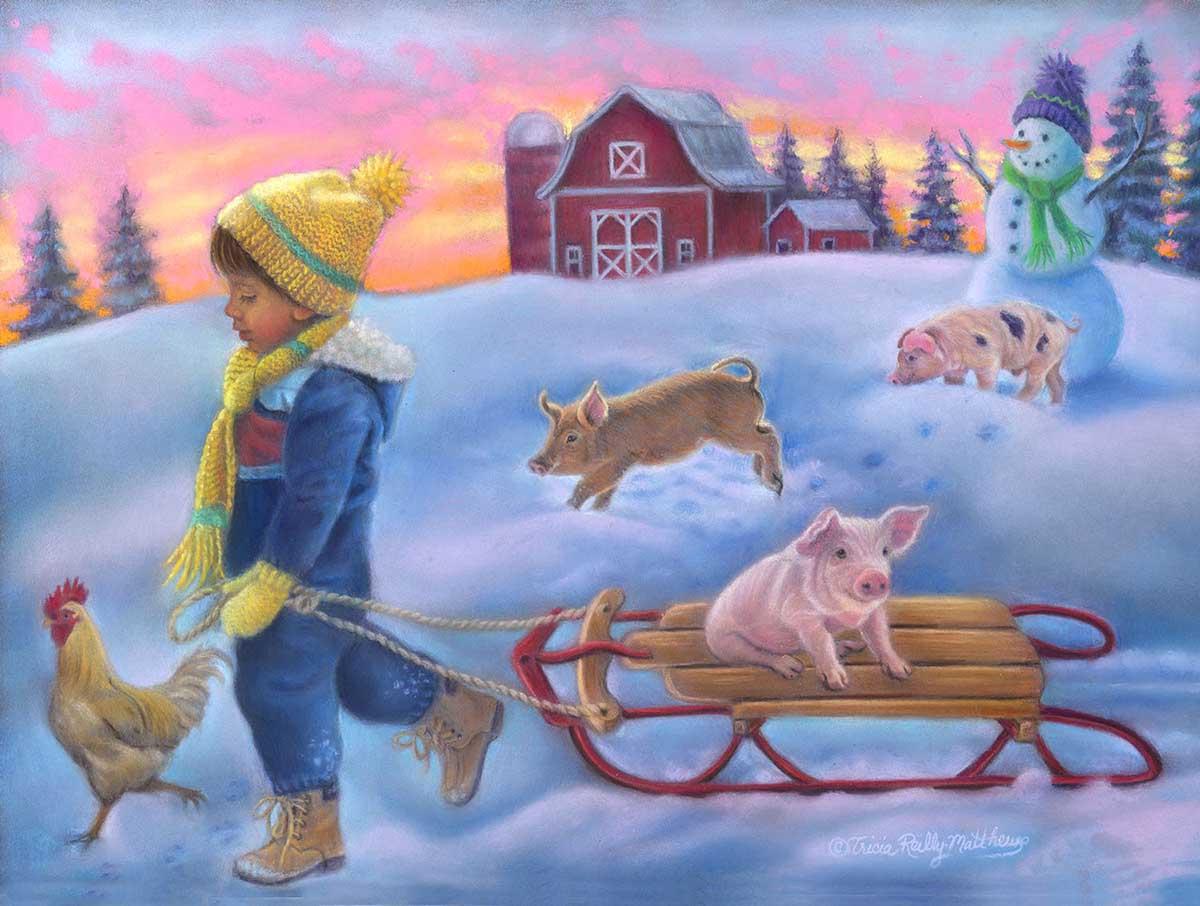 Snow Day on the Farm Farm Jigsaw Puzzle