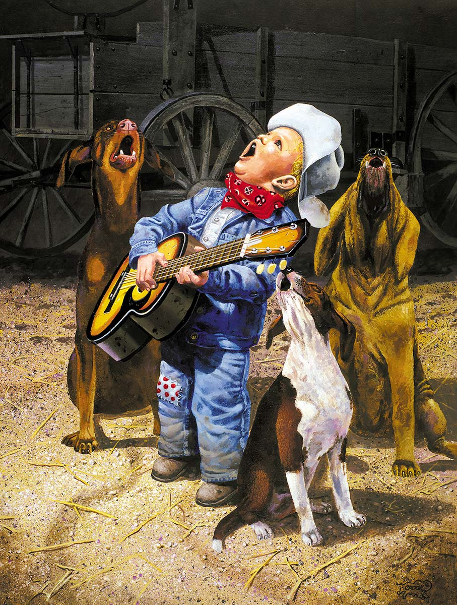 Singing Cowboy Dogs Jigsaw Puzzle
