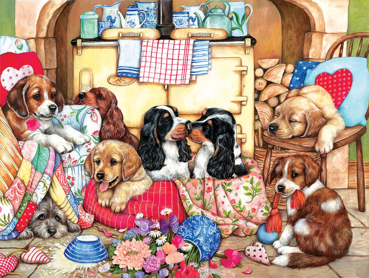 Puppies in the Kitchen Dogs Jigsaw Puzzle