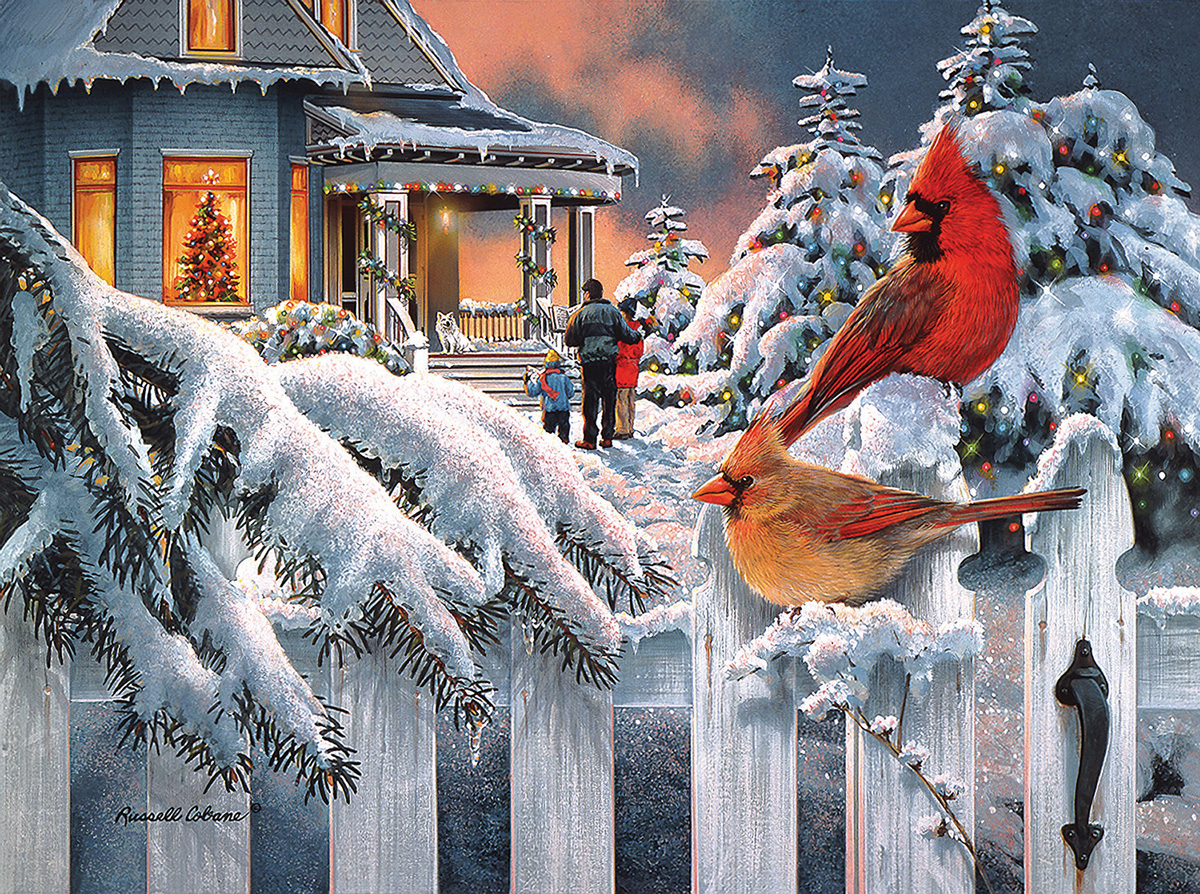 Cardinals At Home for Christmas Birds Jigsaw Puzzle
