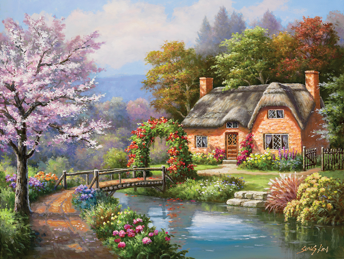 Spring Creek Cottage Lakes / Rivers / Streams Jigsaw Puzzle