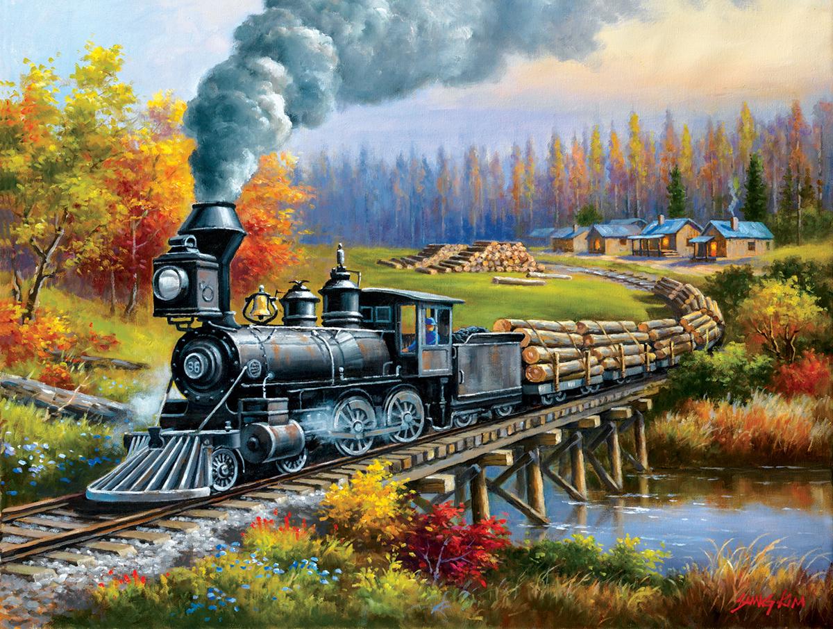 Logging Camp Run 1000 Trains Jigsaw Puzzle