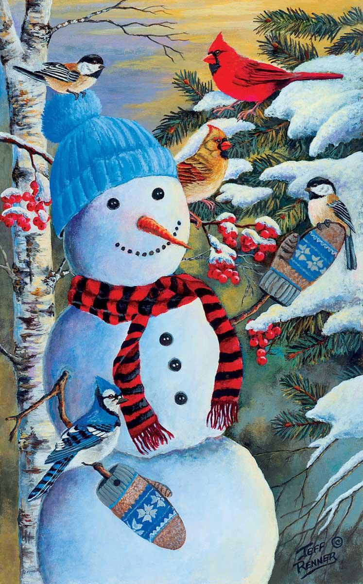 Snowman's Party Birds Jigsaw Puzzle