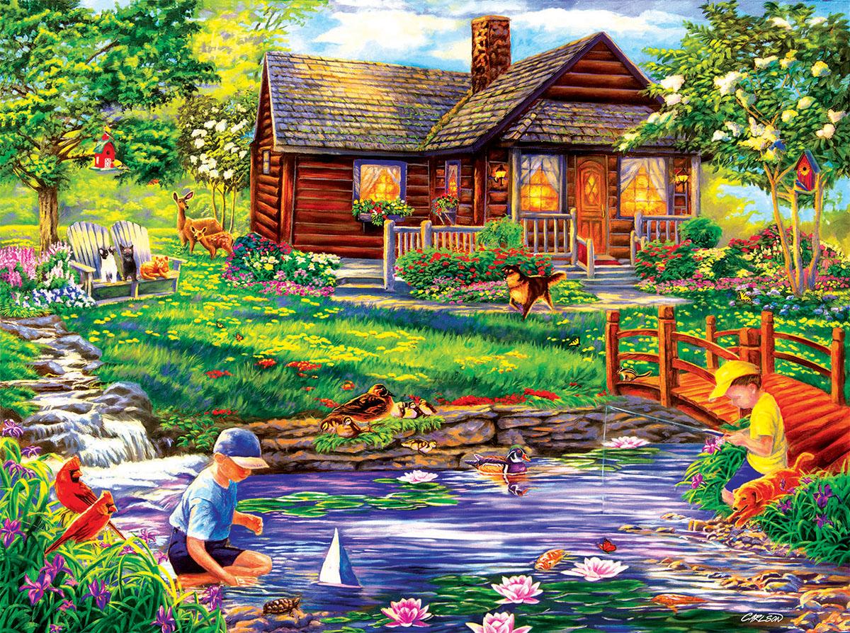 Summer retreat jigsaw puzzle - Large summer houses energizing retreat ...