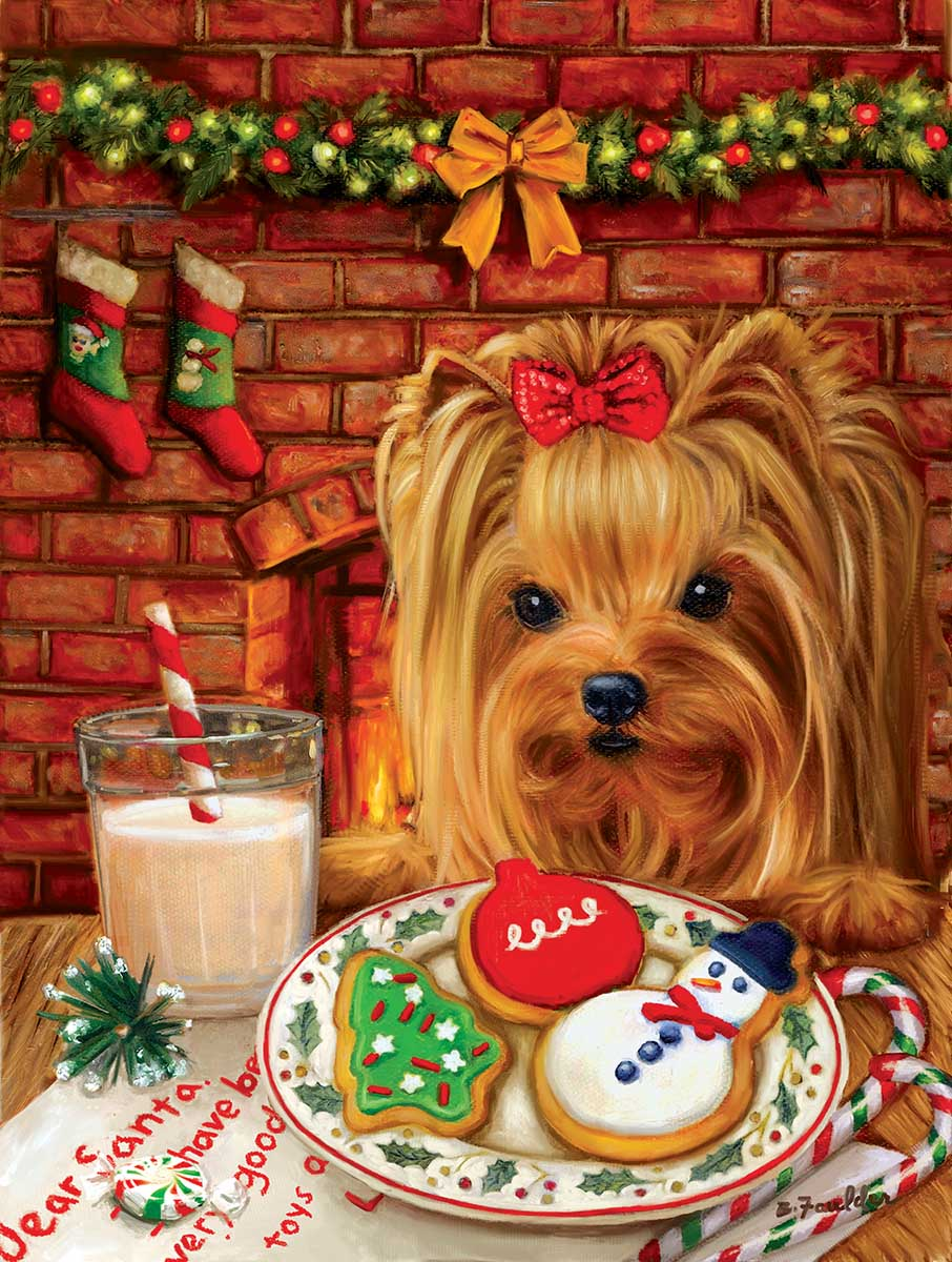 Sharing Cookies with Santa Dogs Jigsaw Puzzle