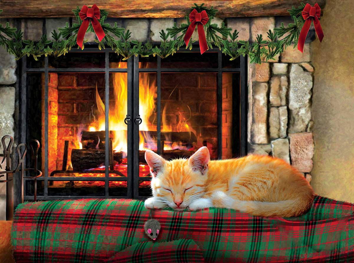 Fireside Snooze Cats Jigsaw Puzzle
