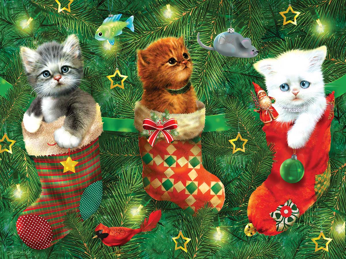 Stockings Full of Kittens Cats Jigsaw Puzzle