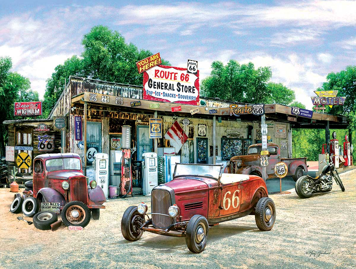 Route 66 General Store Cars Jigsaw Puzzle