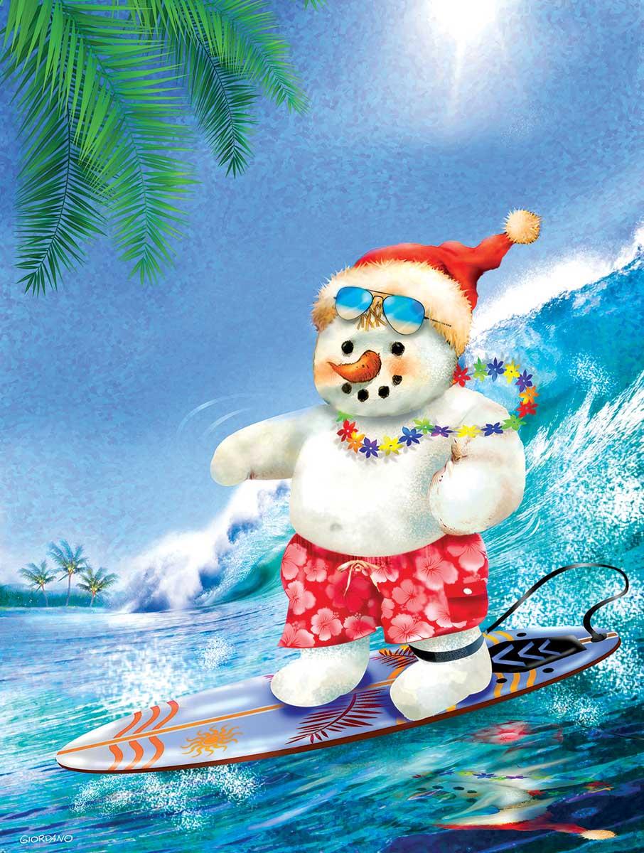 Surfin' Santa Beach Jigsaw Puzzle