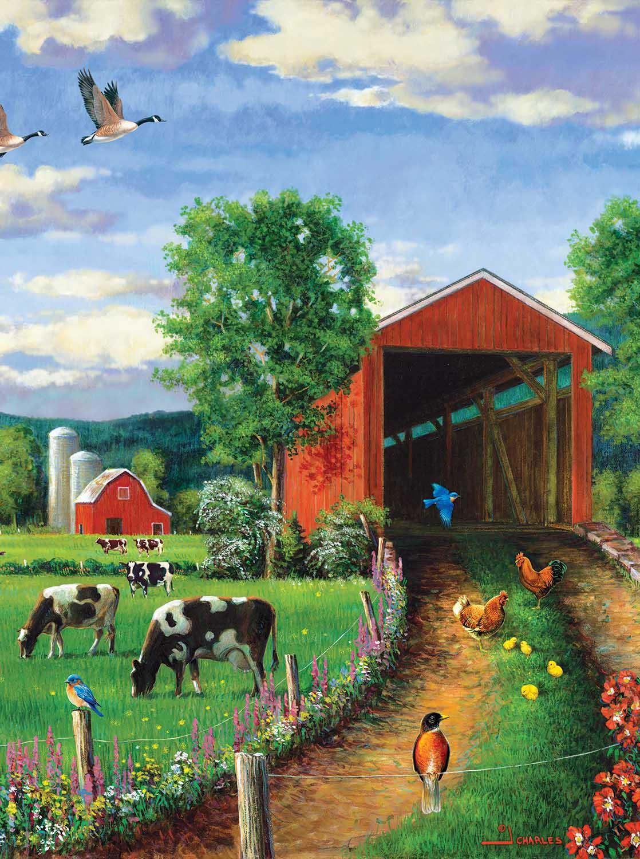 Chickens At the Bridge Farm Jigsaw Puzzle
