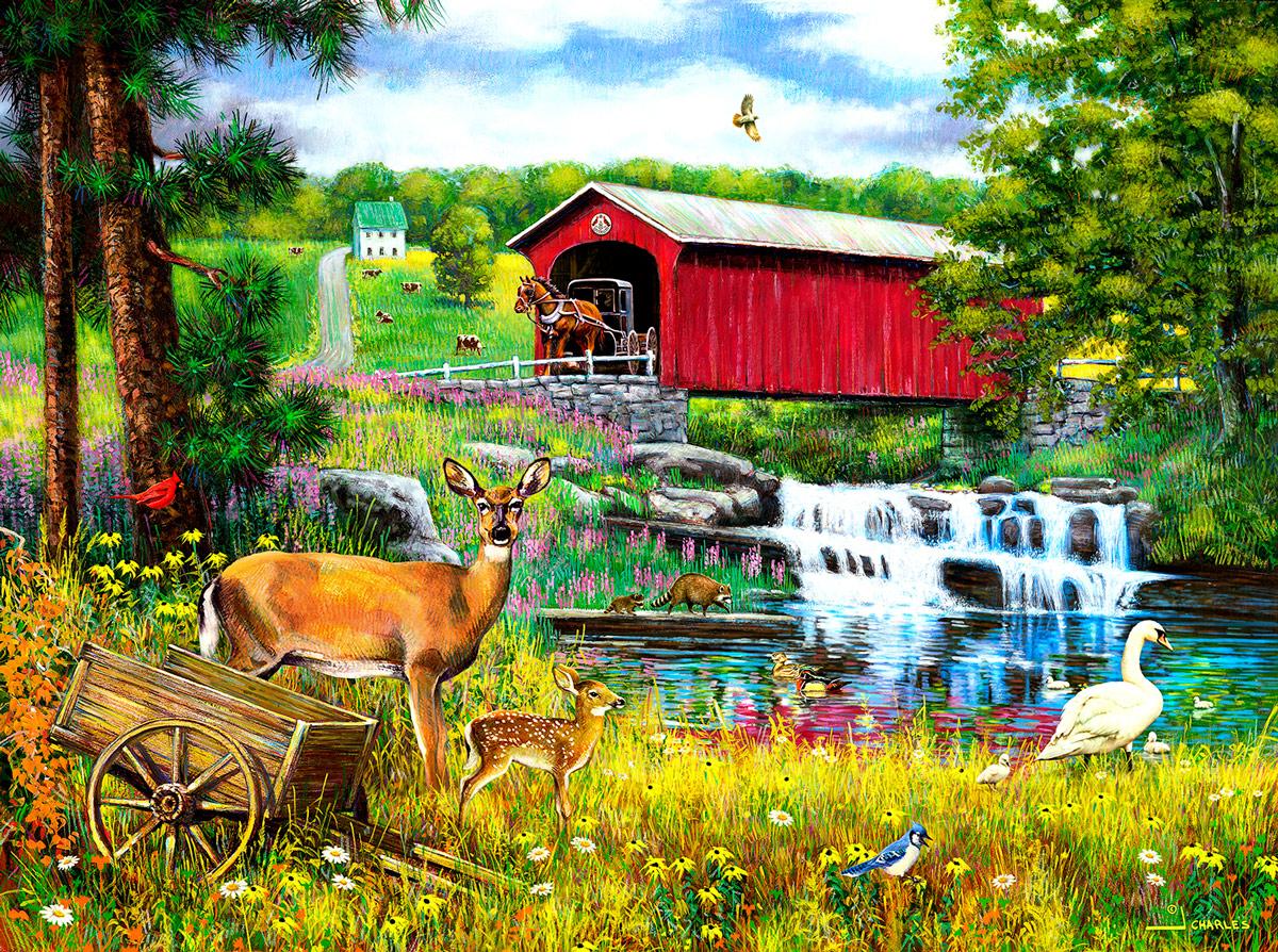 Crossing the Falls Bridges Jigsaw Puzzle