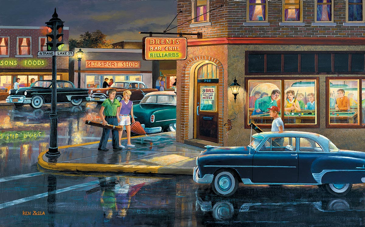 Small Town Saturday Night Street Scene Jigsaw Puzzle