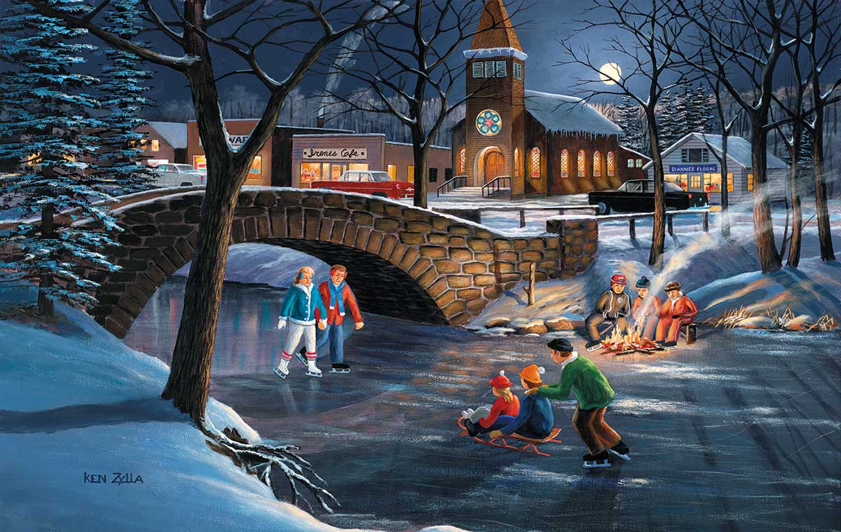 Skaters Moon Winter Jigsaw Puzzle