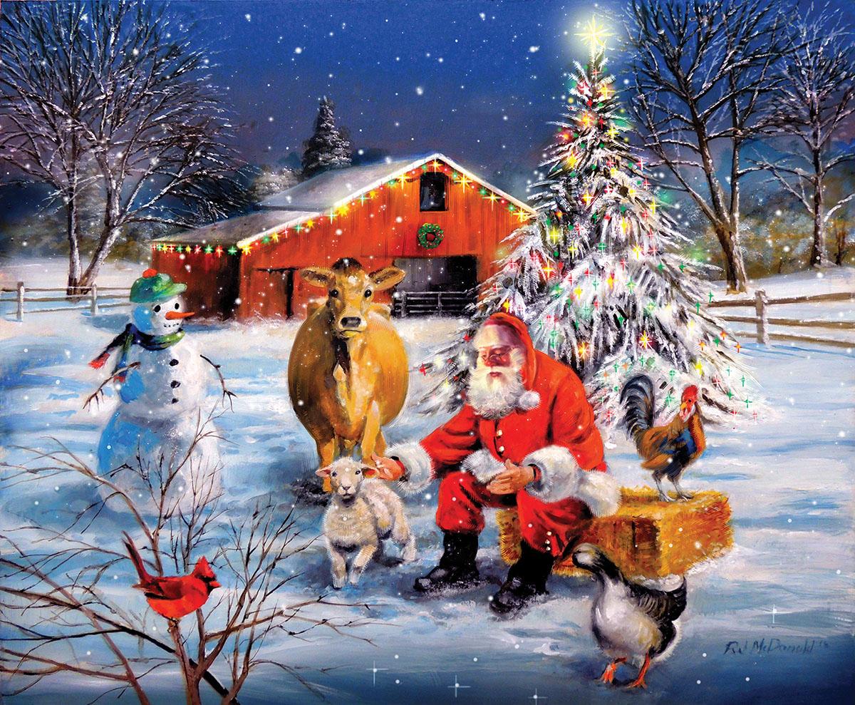 Santa at the Farm Farm Jigsaw Puzzle