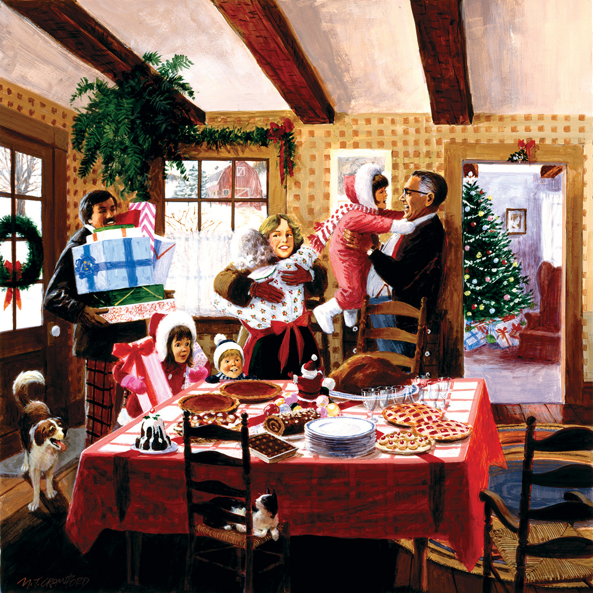 Christmas Dinner Guests Christmas Jigsaw Puzzle