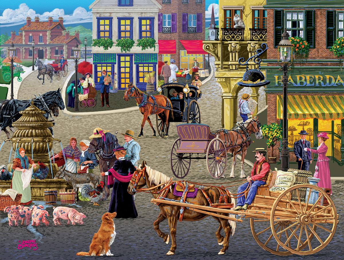 Busy Public Square Street Scene Jigsaw Puzzle