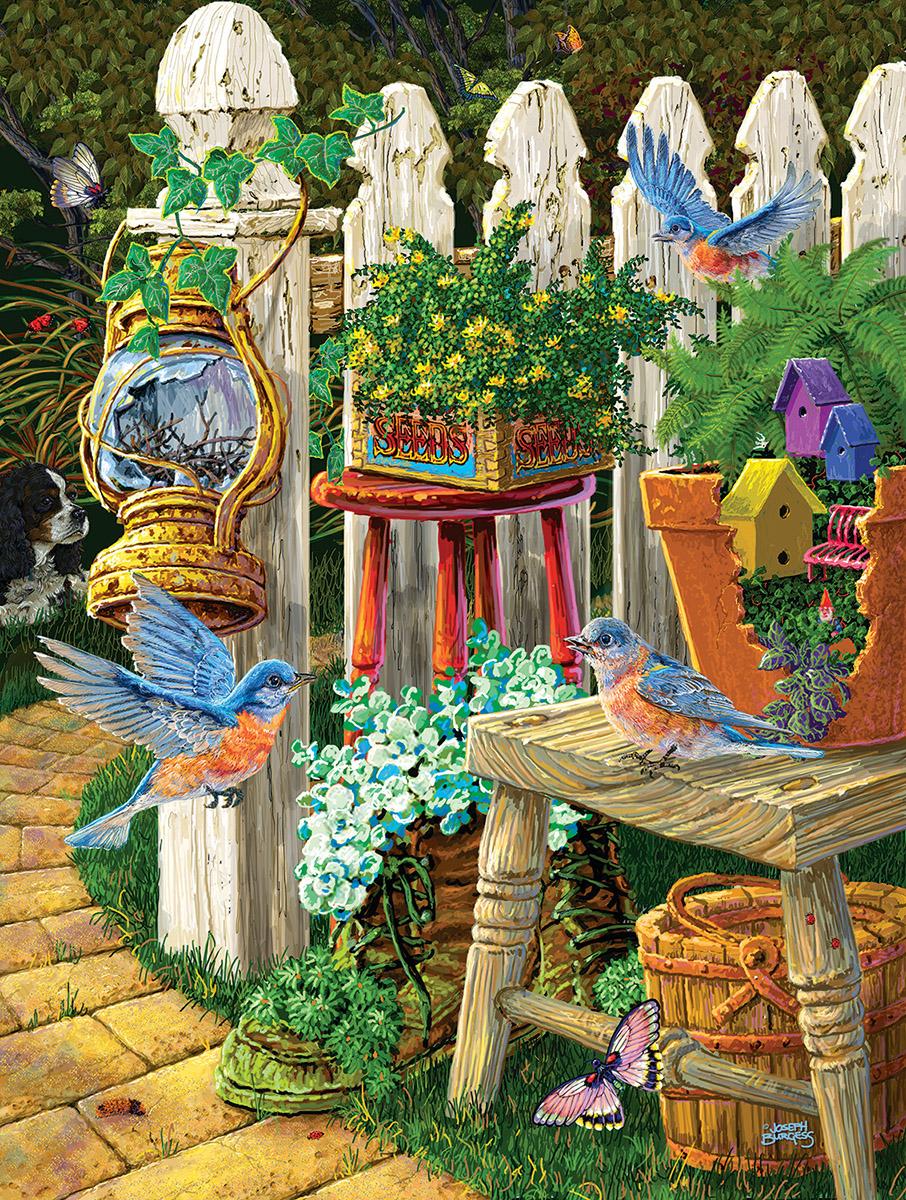 Summer Bluebirds Birds Jigsaw Puzzle