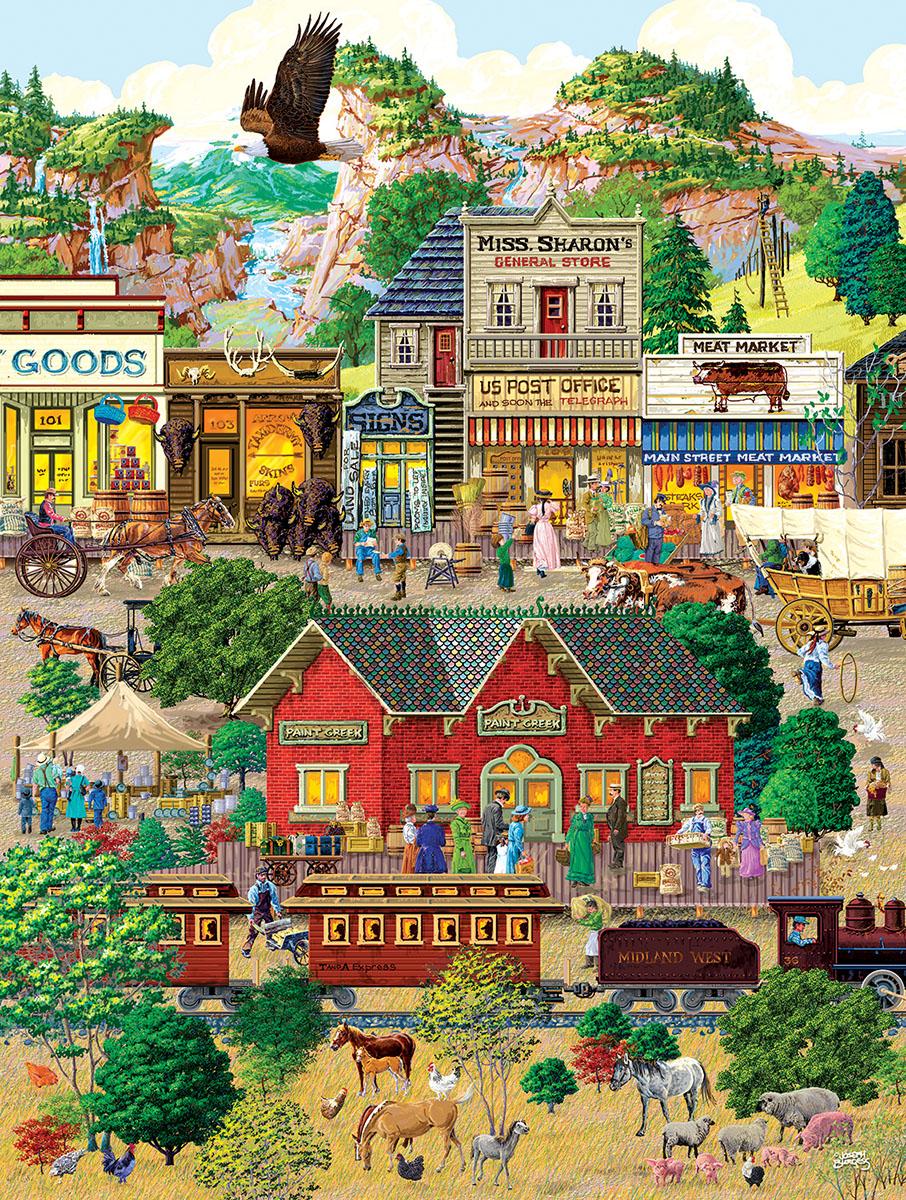 Western Town Americana & Folk Art Jigsaw Puzzle