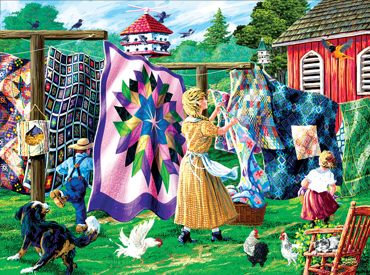 Quilter's Clothesline - Scratch and Dent Farm Jigsaw Puzzle