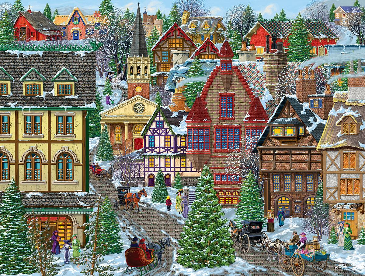 Winter Village Square Winter Jigsaw Puzzle