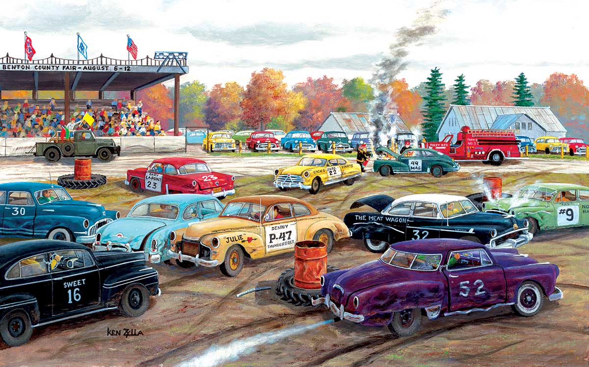 Demolition Derby Cars Jigsaw Puzzle