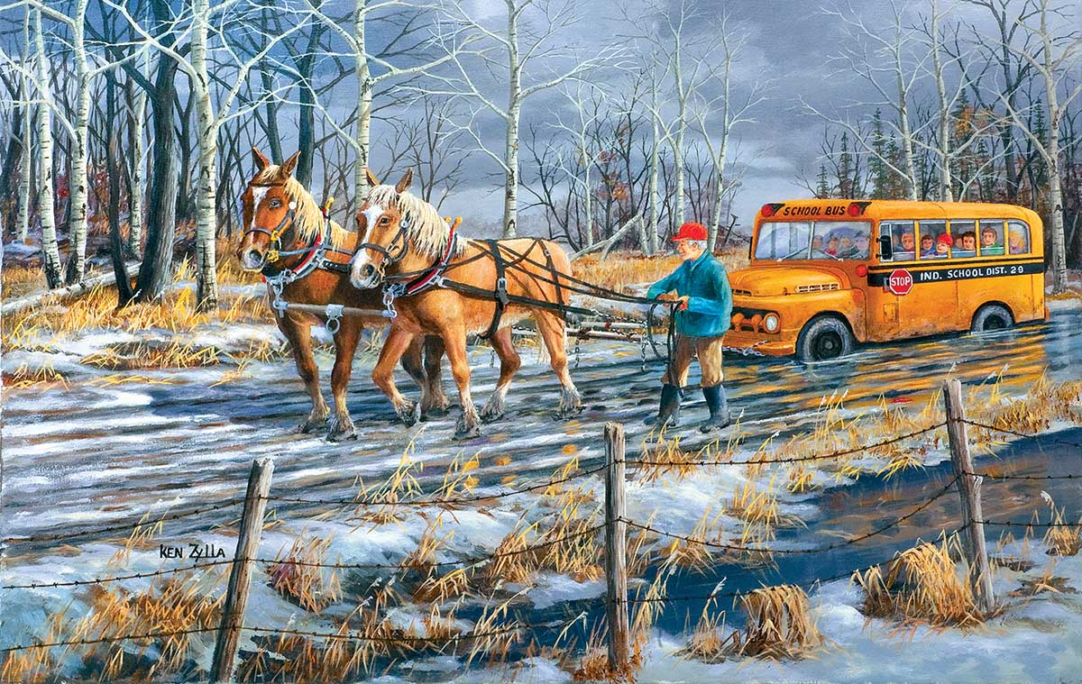 Spring Break Up Horses Jigsaw Puzzle